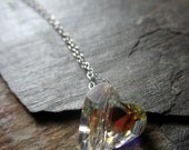 Floating Heart Necklace - Swarovski Crystal Heart and Sterling Silver