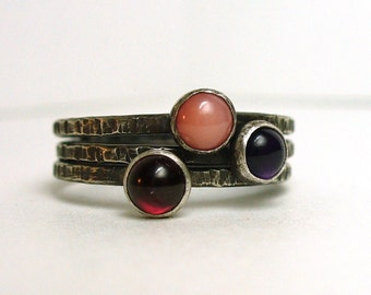 Tiny Gemstone Stackers - Dainty Garnet, Amethyst, Pink Coral and Sterling Silver Rustic Stacking Rings