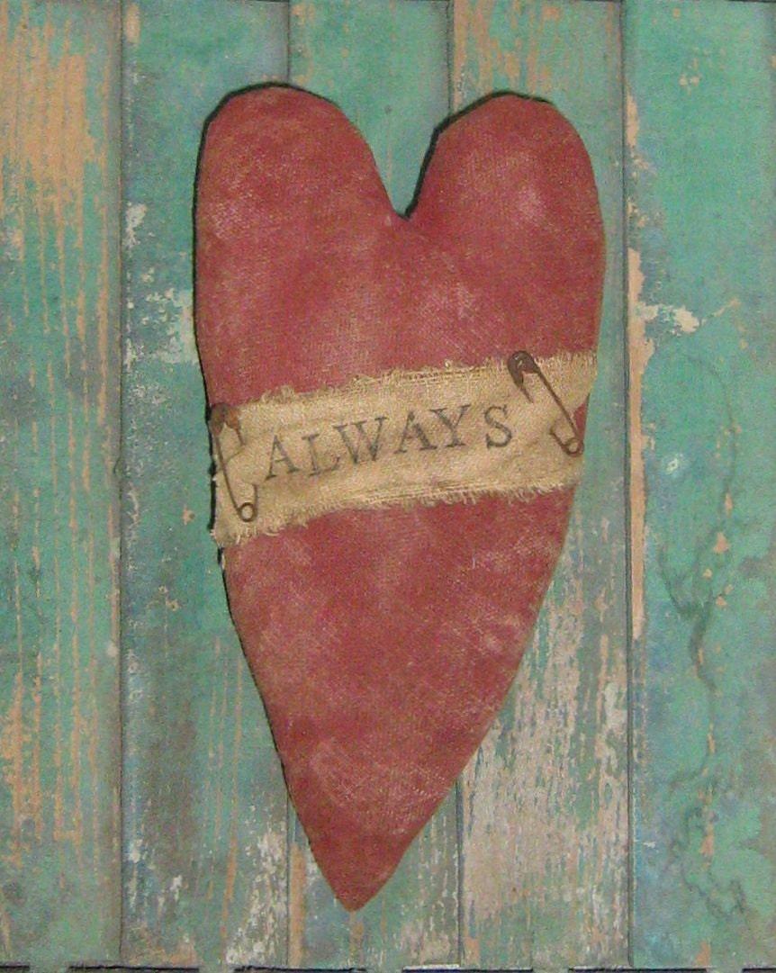 Primitive Heart Valentine Ornament Tuck By PrairiePrimitives