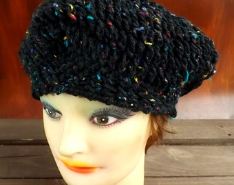 Crochet Beret Hat, Crochet Hat Womens Hat Trendy, Womens Crochet Hat, Crochet Beret Hat, Black Tweed Hat, Black Hat, Christine Crochet Hat