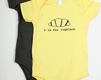 R is for Rugelach Baby One-Piece Bodysuit (Light Yellow)