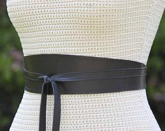 REVERSIBLE Black Leather + Fabric print Obi Wrap Sash Belt - napa lambskin - custom made - XS S M L XL Plus & Petite size - 3 inches wide