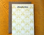 Set of 10 personalized flat notes- Yellow Partridge Print