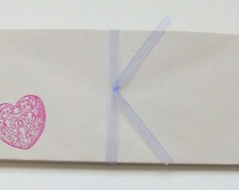 Valentine Hand Stamped Envelopes with Pink Scroll Heart