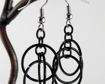 Black Chainmaille Earrings - Orbital Hoop Earrings - Black Hoop Earrings - Black Circles - Funky 3D Earrings - Lightweight - Unique