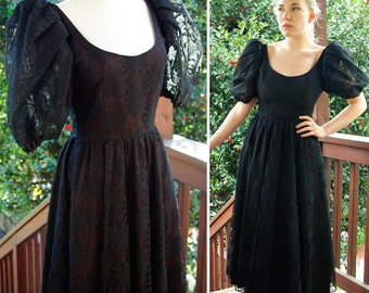 GOTHIC Princess 1960's 70's Vintage Black Lace Formal Gown with Scoop Back Puffed Sleeves size Small