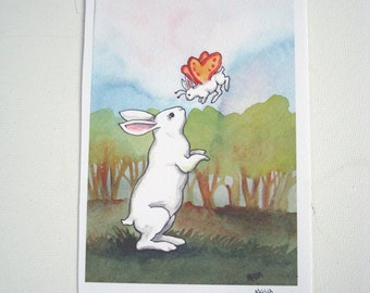 Bunny Fairy - Fine Art Rabbit Print - Bedroom or Nursery Decor