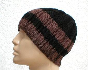 Black brown striped ribbed beanie hat, skull cap, biker runner hiker, ski snowboard, mens womens, skateboard, chemo, toque - Made to Order