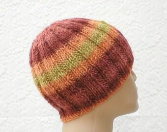 Ribbed beanie hat, skull cap, rust brick orange mustard yellow, striped hat, wool hat, beanie hat, toque, ski snowboard, mens womens hat