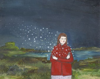 print of original oil painting - the stars were hers - limited edition giclee print