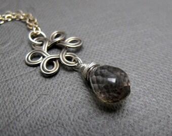 "Silver Knot Mystic Quartz Necklace // Rainbow Mystic Quartz Teadrop Gemstone // Silver Wire Wrapped // Silver Charms // 17"" Silver Chain"