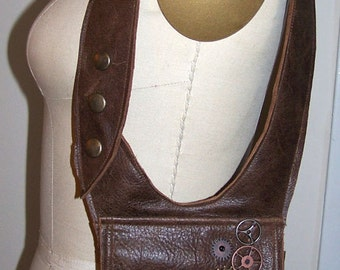 Distressed Brown Leather Double Holster Bag Shoulder Bag Utility bag burning man Unisex made to order by Darkwear Clothing