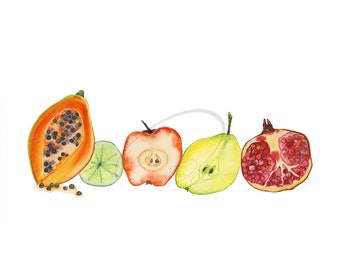Fruit Juice - Watercolor Art Giclee Print Healthy Food Kitchen Papaya Apple Pear Pomegranate Available in Paper and Canvas by Olga Cuttell