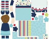 Riley Blake Fabric Panel, Dress Up Days Doll, Blue
