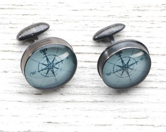Compass Rose - Antique Map Cufflinks in Handmade Sterling Settings