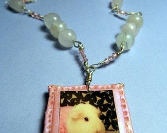 Pink Guinea Pig Photo Necklace with wire wrapped Genuine Swarovski Crystal & Rose Quartz Beading