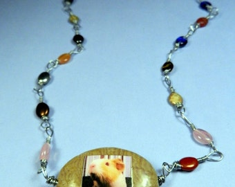 Wire Wrapped Pink Eyed Guinea Pig Rainbow Photo Necklace OOAK & 100% HANDMADE