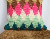 """SALE, Crochet Decorative Pillow in Little Diamonds in Blue, Pink, Tan, Mint, Brown and Cream, 14"""" x 14"""""""