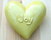 RESERVED for Sally- Joy - Bright Yellow Ceramic Wall Heart
