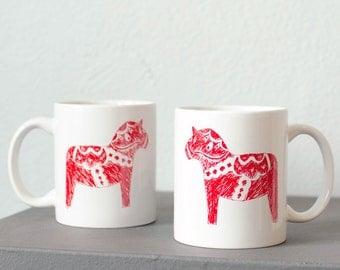 Dala horse - hand printed coffee mug red on white