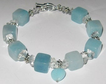 Amazonite, Crystal Quartz and Sterling Silver Bracelet - B124