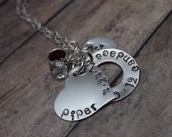 Hand stamped jewerly-sterling silver- personalized jewelry- heart washer and disc necklace
