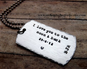 Dog tag necklace-i love you to the moon and back-mens-mens necklace-gift for boyfriend-valentines day gift-personalized necklace