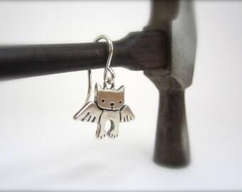 Little Angel Kitty Earrings - Sterling Silver Cat Earrings