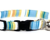 Cat Collar - Fresh Blue and Yellow Stripes - Breakaway Safety Cute Fancy Cat Kitten Collar