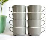 Vintage Grey Coffee Cups // Set of 8 Dove Grey & White Plastic // Lightweight NWA In-Flight Mugs