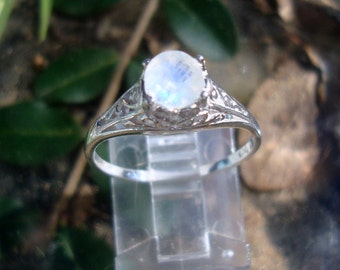 Rainbow Moonstone Ring VALERIE filigree Ring eco-friendly sterling silver with Fair Trade - Ready to Ship  in size 6.25+ - SALE
