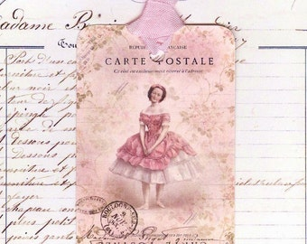 Gift Tags - Vintage Style  - French Ballerina - Pink Tags - Dancer