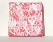 mini painting: hearts, Valentine's Day, graffiti, pink and white