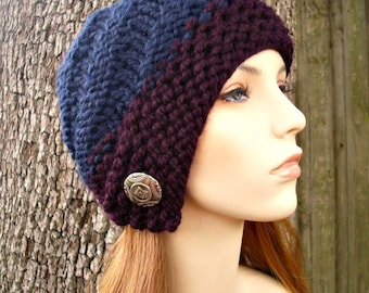 Knit Hat Womens Hat - Hybrid Swirl Cloche Hat in Eggplant Purple and Navy Blue Knit Hat - Blue Hat Navy Hat Womens Accessories Winter Hat