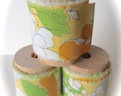 Vintage Sheet Fabric Ribbon Spool -  2 Yards  - Retro Orange, Green, and White Flowers on Yellow