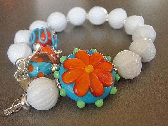 RESERVED  Lampwork Bracelet Floral Lampwork Bracelet Beaded Bracelet
