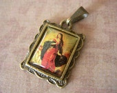 """Religious Medal Mary ASCENSION Blessed Virgin Mother pendant charm resin cab Antique Brass Rectangle Frame 1/2"""" lot of 1"""