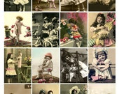 CHILDREN and BABY DOLLS Vintage Postcards - Instant Download Digital Collage Sheet