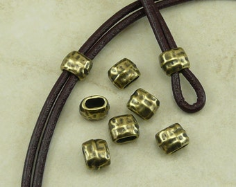 6 TierraCast 4x2mm ID Hammertone Hammered Small Barrel Crimp Spacer Beads > Brass Ox Plated Lead Free Pewter - I ship Internationally 5791