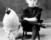 Unusual Vintage Reproduction Photograph Smoking Boy with Chicken  Black & White 8x10