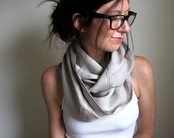 Natural Linen Infinity Scarf, Cowl Scarf, Flax Clothing, Mobius Loop, Woven Linen, Made in Vermont