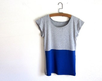 Royal Blue and Grey Color Block Tee Shirt / Women's Tshirt / Tank / Custom Made to Order