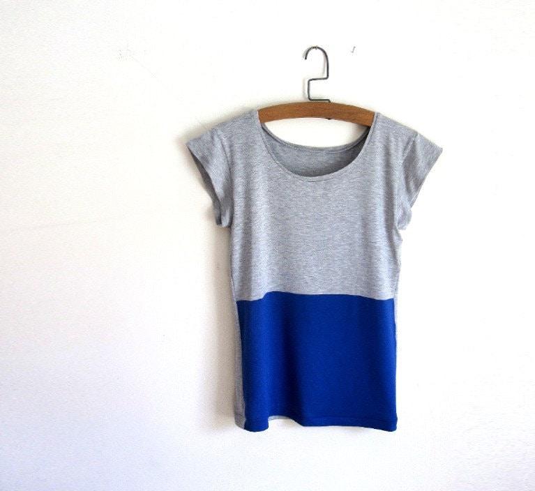 royal blue and grey color block tee shirt women 39 s tshirt. Black Bedroom Furniture Sets. Home Design Ideas