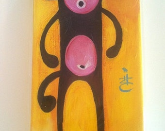 SoCK MONKEY Art Painting - Brown Sock Monkey Painting - 6 by 12 by (sides)1.5 Inch Original Handmade Painting - Brown Sock Monkeys