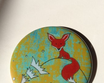 Fox Button Magnet