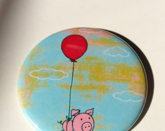 Flying Pig Button Magnet