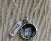 Name tag birthstone photo necklace, New Mom Photo Necklace, Mommy Necklace, Remembrance Jewelry, Double Sided Photo Pendant