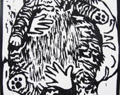 H for Himmy (woodcut)