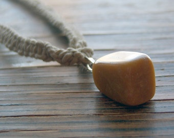Natural Hemp with Yellow Marble Pendant