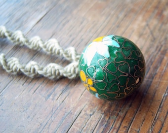 Natural Hemp with Ceramic Ball Pendant
